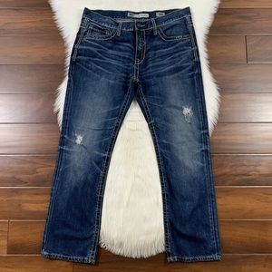 BKE 36 Short Distressed Carter Straight Jeans